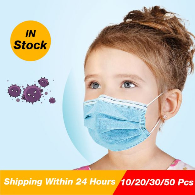 50Pcs Kids Disposable Protective Mask Filter pm2.5 Dustproof Prevent Bacteria Anti Virus Pollution 3 layers mask
