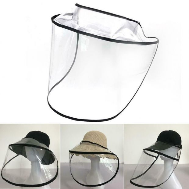 Protective Transparent Mask Removable Cap Droplet Face Mask Suit for Fisherman's Hat