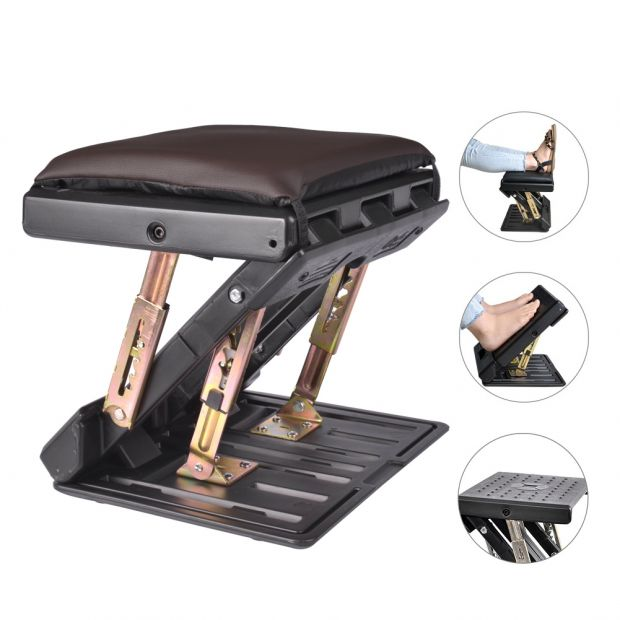 Adjustable Footrest with Removable Soft Foot Rest Pad Max-Load 120Lbs with Massaging Beads 4-Level Height Adjustment for Car,Under Desk, Home, Train(Brown)